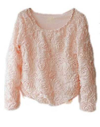 Orange Long Sleeve Chiffon Rosette Pullovers