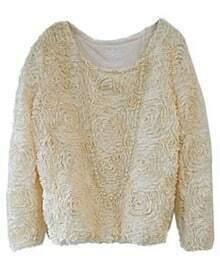Beige Long Sleeve Chiffon Rosette Pullovers