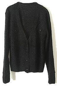 Black Long Sleeve Pockets Cardigan Sweater