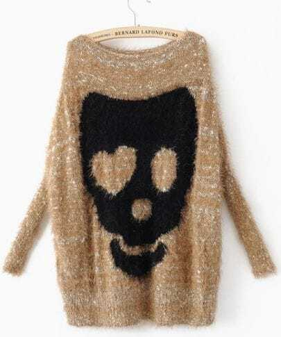 Yellow Batwing Long Sleeve Skull Print Pullovers Sweater