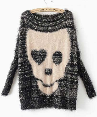 Black Batwing Long Sleeve Skull Print Pullovers Sweater