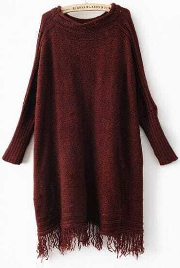 Wine Red Long Sleeve Tassel Pullovers Sweater