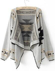 Grey Long Sleeve Asymmetrical Cardigan Sweater