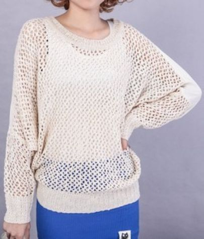 Beige Hollow Avatar Print Batwing Long Sleeve Sweater