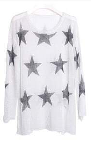 White Long Sleeve Hollow Stars Print Ripped Sweater