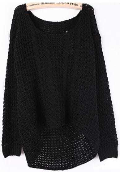 Black Long Sleeve Hollow Pullovers Sweater