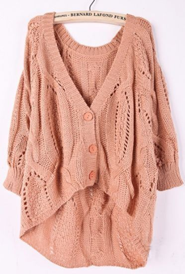 Orange Batwing Sleeve Hollow Embroidery Cardigan Sweater