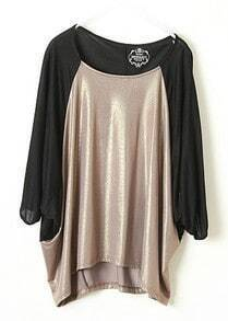 Black Camel Batwing Half Sleeve Loose T-Shirt