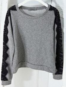 Grey Lace Long Sleeve Round Neck Cotton Sweatshirt
