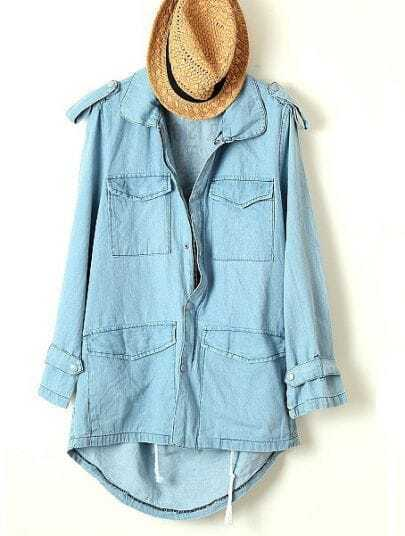 Blue Long Sleeve Epaulet Pockets Trench Coat