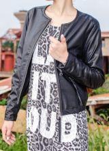 Black Long Sleeve Zipper Pockets PU Leather Coat