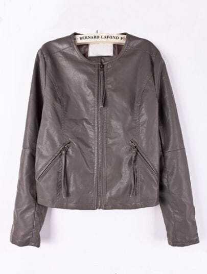 Dark Grey Long Sleeve Zipper Pockets PU Leather Coat