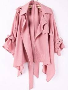 Pink Lapel Drawstring Waist Asymmetrical Trench Coat