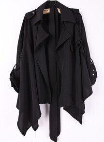 Black Lapel Drawstring Waist Asymmetrical Trench Coat