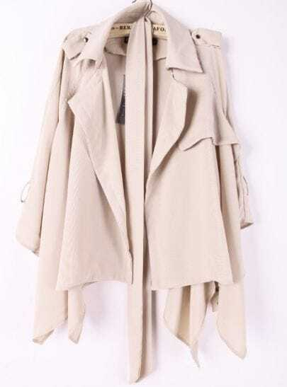 Beige Lapel Drawstring Waist Asymmetrical Trench Coat
