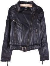 Black Lapel Long Sleeve Zipper Crop PU Leather Coat
