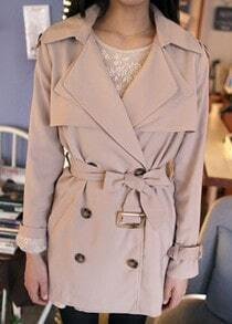 Beige Long Sleeve Drawstring Waist Lace Trench Coat