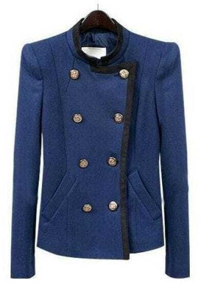 Blue High Neck Long Sleeve Pockets Crop Coat