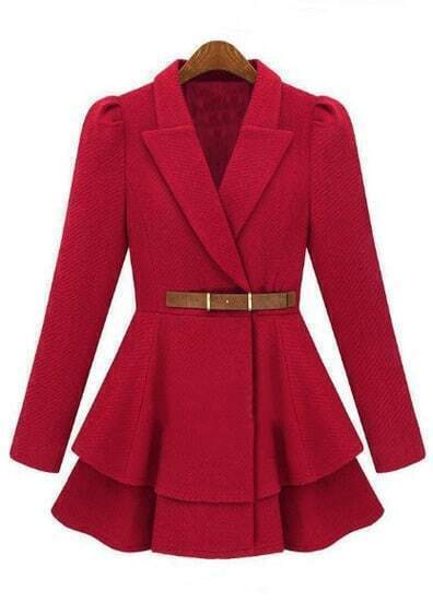 Red Lapel Puff Sleeve Drawstring Waist Tweed Coat