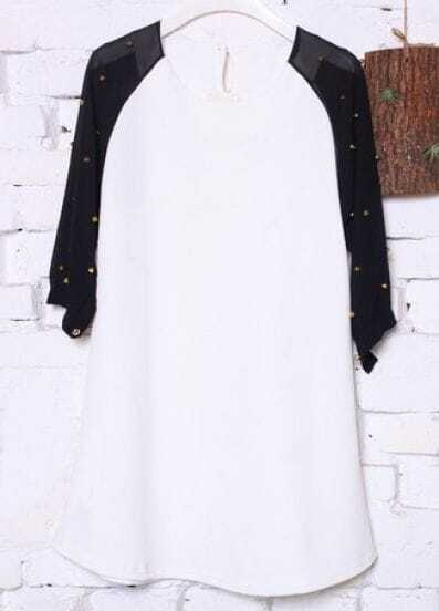 White Black Three Quarter Length Sleeve Rivet Chiffon Blouse