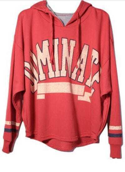 Red Hooded Long Sleeve Letters Print Sweatshirt