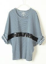 Light Blue Striped Batwing Contrast PU Leather T-Shirt