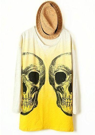 Yellow Grey Long Sleeve Skull Print T-Shirt