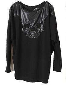 Black Long Sleeve Contrast Leather Skull T-Shirt