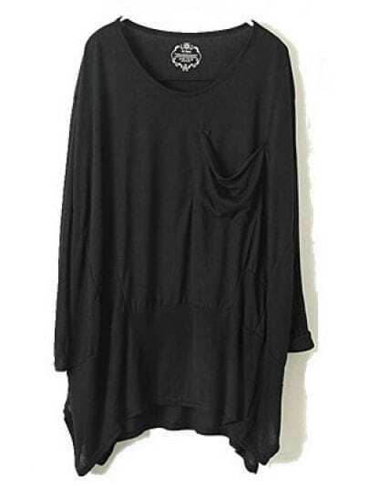 Black Long Sleeve Pocket Whorl Loose T-Shirt