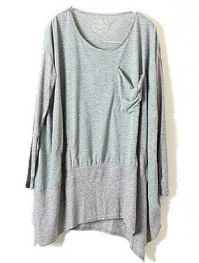Grey Long Sleeve Pocket Whorl Loose T-Shirt