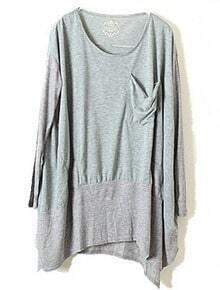 Grey Long Sleeve Pocket Whorl Loose T-Shirt