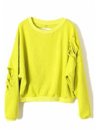 Yellow Batwing Long Sleeve Ripped Cotton Sweatshirt
