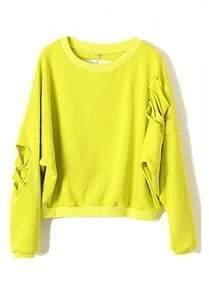 Yellow Batwing Long Sleeve Ripped Cotton Sweatshirt
