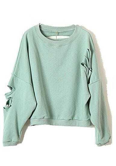 Green Batwing Long Sleeve Ripped Cotton Sweatshirt