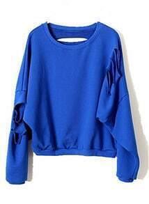 Blue Batwing Long Sleeve Ripped Cotton Sweatshirt