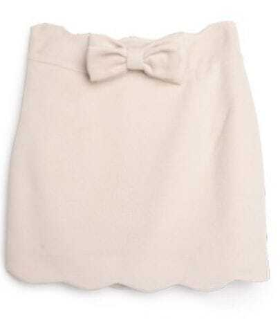 Ivory Bow Ruffles Bodycon Polyester Skirt