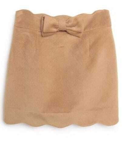 Camel Bow Ruffles Bodycon Polyester Skirt