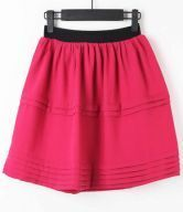 Red Elasic Waist Pleated A Line Skirt