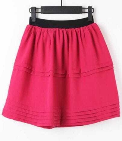 Red Elasic Waist Pleated A Line Skirt