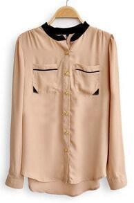 Khaki High Neck Long Sleeve Pockets Chiffon Shirt