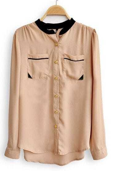 Khaki High Neck Long Sleeve Pockets Chiffon Shirt