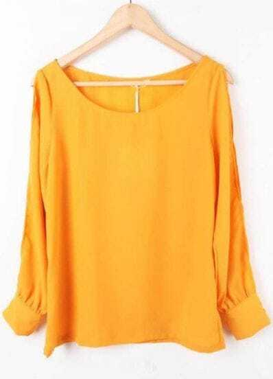 Yellow Long Sleeve Off the Shoulder Chiffon Blouse
