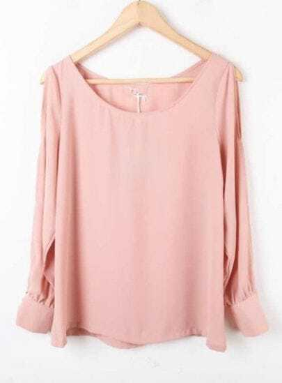 Pink Long Sleeve Off the Shoulder Chiffon Blouse