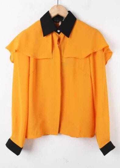 Yellow Contrast Collar Long Sleeve Chiffon Shirt