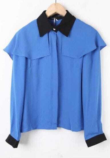 Blue Contrast Collar Long Sleeve Chiffon Shirt
