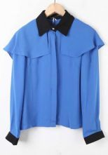 Blue Contrast Collar Long Sleeve Chiffon Shirt