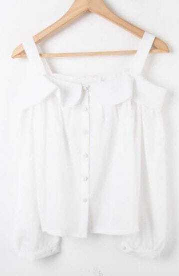 White Spaghetti Strap Long Sleeve Buttons Shirt