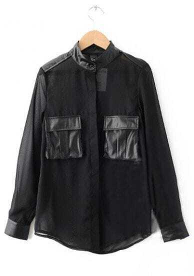 Black Long Sleeve Contrast PU Leather Pockets Shirt