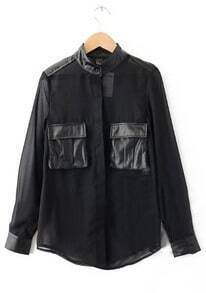 Black Long Sleeve Contrast PU Leather Pockets Shirt