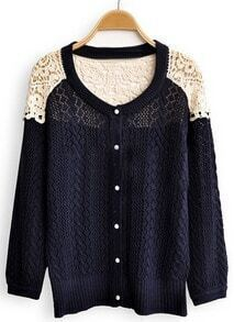 Navy Contrast Lace Long Sleeve Hollow Cardigan Sweater